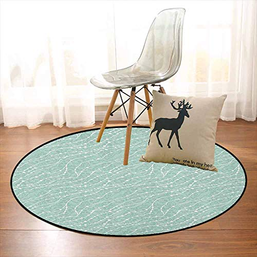 Pearls Multifunctional Round Carpet Faded Curlicues on Pastel Color with White Dotted Lines Nautical Inspiration for Bedroom Modern Home Decor D59 Inch Almond Green White