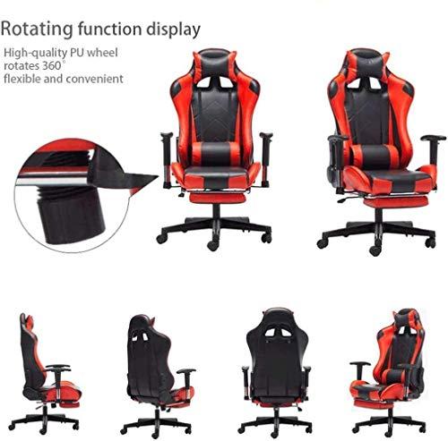 Kontorsstol, spelstol E-sport stol fotstöd konstläder stol läder hög rygg justerbar uppgift stol knästol