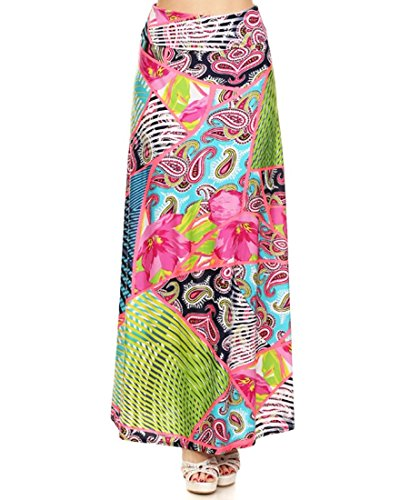Premium and Beautiful Silky Soft Printed High Waist Fold Over Maxi Skirt (Medium, Garden Patterns with Paisley and High Fans in Coral Green Orange Flowers)