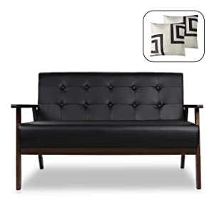 "Mid-Century Modern Solid Loveseat Sofa Upholstered Fabric Couch 2-Seat Wood Armchair Living Room/Outdoor Lounge Chair,50""W"