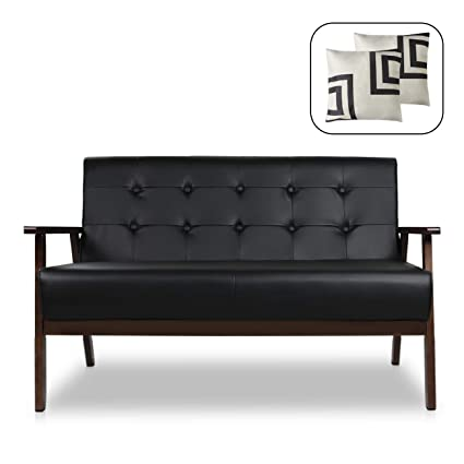Amazon.com: Mid-Century Modern Solid Loveseat Sofa Bed Upholstered ...