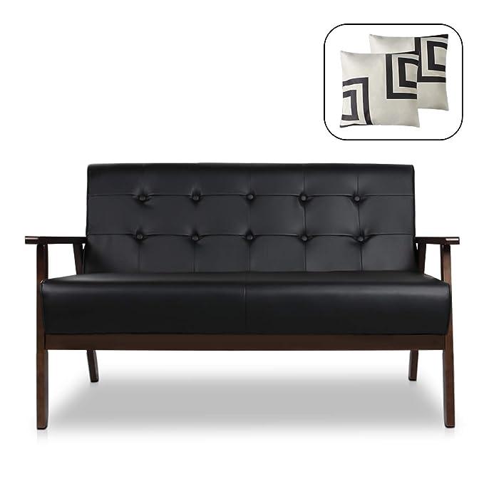 Amazon.com: Mid-Century Modern Solid Loveseat Sofa Bed ...