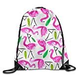 WSXEDC Fine Day Press Flamingos Drawstring Bag Backpack Stylish Lightweight Durable Cute Bag For Yoga Sport Travel