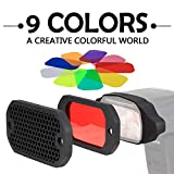 AODELAN Grid and Gel Set for Flash Gels Lighting Filter Kit for Canon, Nikon, Sony, Godox, Yongnuo, Neewer,Altura Flash Light