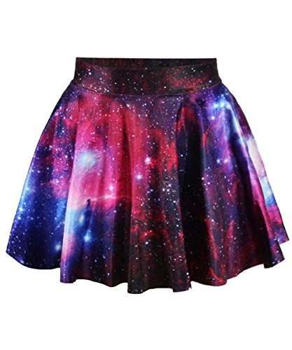 Abby Berny Galaxy Skirt Purple High Waisted Skater Skirts Dress Stretchy Flared Pleated Mini Short Casual 3D Digital Print