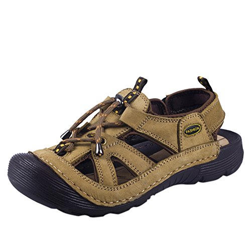 4f7e0df8f39c Wentsven Mens Leather Closed Toe Beach Hiking Fisherman Sandals durable  modeling