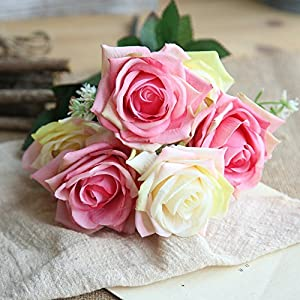 NIHAI 1 Bunch 7 Head Artificial Flowers Looks Realistic and Beautiful Fake Rose Floral for DIY Bridal Wedding Bouquet Garden Party Home Decoration 19
