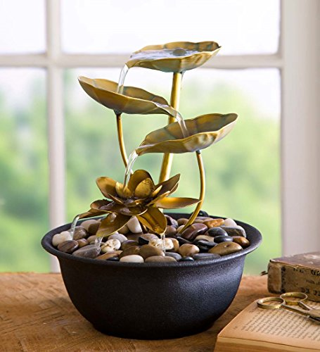 Wind & Weather FT6534 Water Lily Indoor Fountain, Gold/Black,