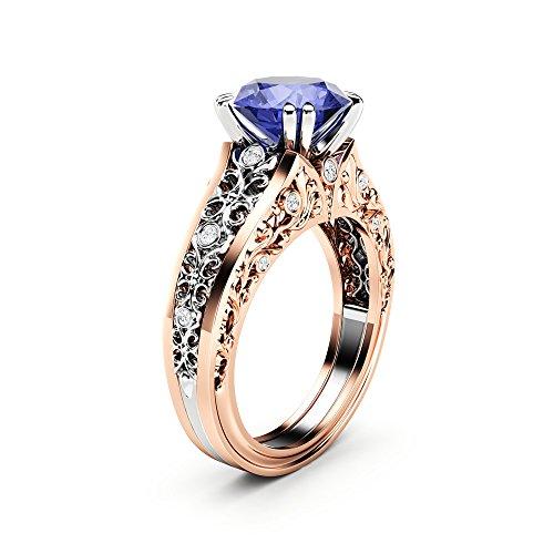 Unique Engagement Ring Bluish Violet Tanzanite Engagement Ring 14K 2 Tone Gold Ring - Tone Two Ring Tanzanite