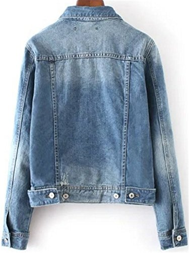 IWFREE Damen Jeansjacke Mantel Denim Jacke Mode Langarm Lose Beiläufige Wäsche Denim Jacken Mantel