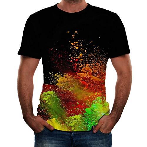 Hstore Men Color Inkjet Short Sleeve T Shirt, Funny 3D Color Print Round Neck T Shirt Tops Daily Blouse Premiun Tees