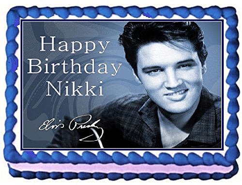 [Elvis Personalized Edible Cake Topper Image -- 1/4 Sheet] (Elvis Presley Decorations)