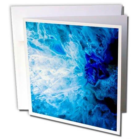 3dRose Uta Naumann Faux Glitter Pattern - Image of Luxury Fashion Ice Blue Marble Agate Gem Mineral Quartz - 1 Greeting Card with Envelope (gc_275050_5)