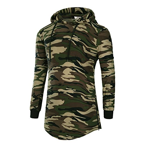 Camouflage Long Sleeve Camo T-shirt - DAVID.ANN Mens Hipster Hip Hop Pullover Longline Side Zipper Long Sleeve Hooded T Shirt,Camouflage,X-Large