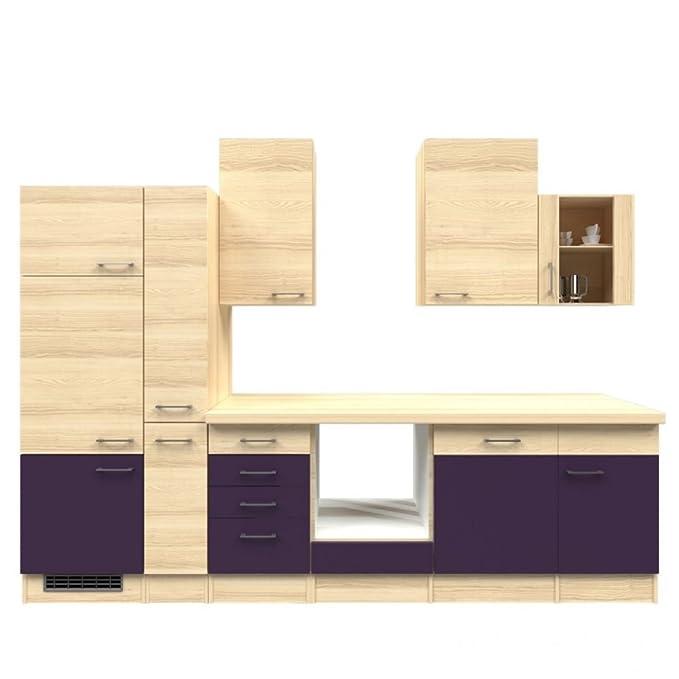 Küchenzeile 310 cm ohne geräte aubergine akazie mit schubkastenschrank zafia amazon de küche haushalt