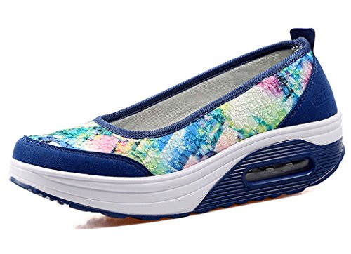 Summer Wedge Sneakers Shoe Slip Loafers GFONE Blue Soles Casual Increased Platform Thick Floral On Boat Flower Women's xqwOXPI
