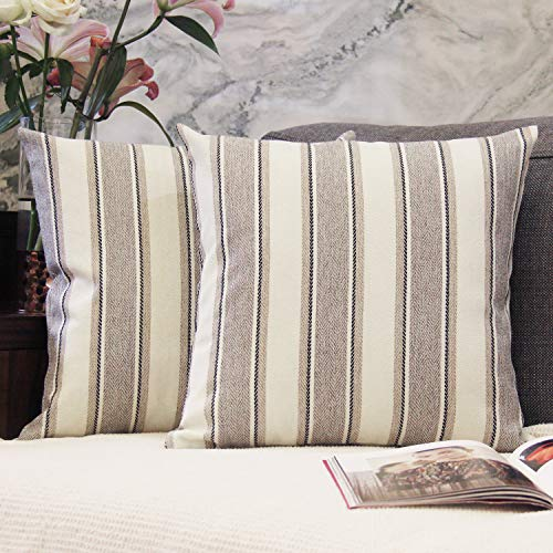 (JOJUSIS Stripe Throw Pillow Covers Farmhouse Pillowcases Pack of 2 18 x 18 Inch Grey)