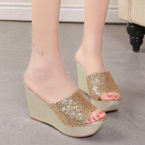 Malloom Sandalen, Damen Sommer Sequins High Heel Hausschuhe Open Toe Schuhe Wedge Gold