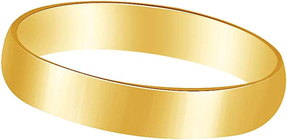 Wishrocks 10K Solid Gold 4MM Mens /& Womens Anniversary /& Wedding Band Ring