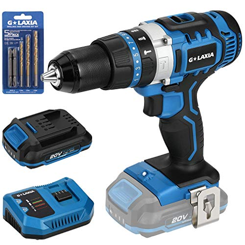 GALAXIA 20V Lithium Ion 2-Speed Cordless Drill Driver with Variable Speed, Max Torque(50N.m), 21+3 Clutch, 1/2 inch Keyless Chuck, Built-in LED, Metal Belt Clip, 2.0Ah Battery & 1 Fast Charger