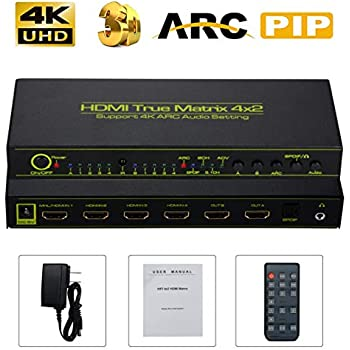 Support 3D 4K Full HD 1080P 6 Input 2 Output HDMI 1.4a Selector Switch Box Ultra HD Matrix 6 Port HDMI Switcher Splitter ARC PIP SPDIF 3.5mm with Remote Control US Plug