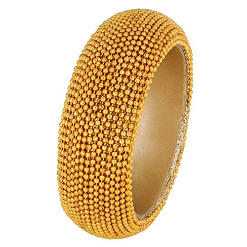 [Shalinindia Golden Beaded Bangle Jewelry Bracelet For Womens Birthday Gifts | Beautifully Handmade in India | SIZE] (Indian Beaded Bracelet)