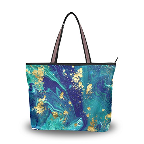 ALAZA Marbled Blue Abstract Large Tote Top Handle Shoulder Bags Handbags for Women Ladies