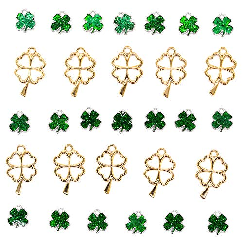 (AUEAR, 30 Pcs Four Leaf Clover Lucky Charms Pendants for DIY Crafting Necklace Bracelet Jewelry Making Green + Gold)