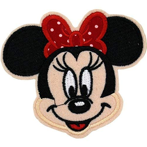 "Minnie Mouse Red Polka Dot Bow Embroidered Patch 3.5"" x 3.25"" inches Logo Sew Ironed On Badge Embroidery Applique Patch."