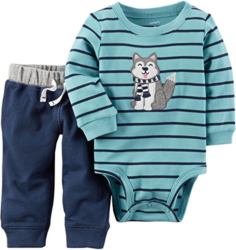 Baby Boys Dog - Carter's Baby Boys' 2 Piece Striped Dog Graphic Bodysuit And Pants Set 6 Months