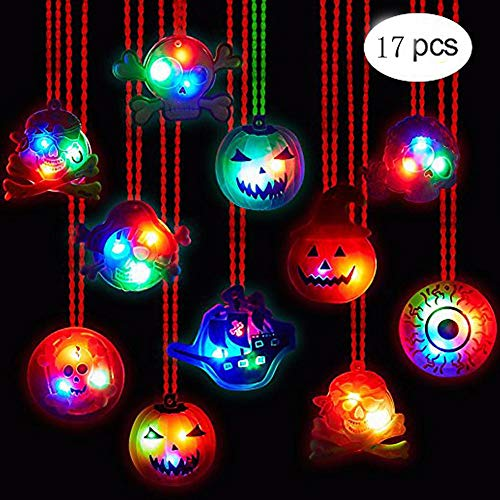 SR-TOY Halloween 17 PCS LED Necklaces Party Favors Kids Adults - Halloween Light up toys Treat Bag Fillers