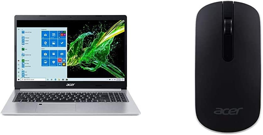 "Acer Aspire 5 A515-55-75NC, 15.6"" Full HD IPS Display, 10th Gen Intel Core i7-1065G7 with Acer Slim Wireless Optical Mouse - Black"