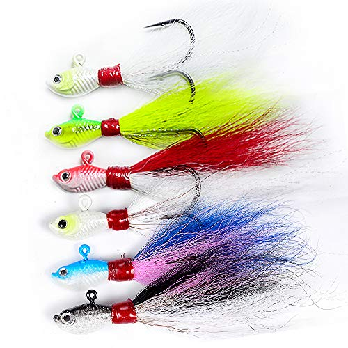 Dr.Fish Lot 3 Bucktail Jig Fluke Lure Saltwater Freshwater Baits