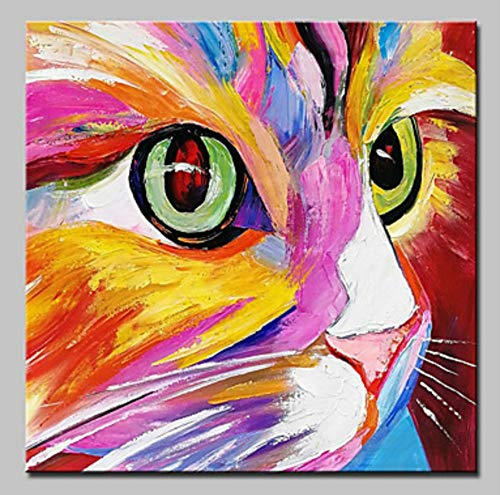 Hand Painted Kids Murals - ZLYYH Hand Painted Oil Paintings On Canvas,Abstract Animal Painting,Simple and Colorful Cute Cat Face,Home Decor,Wall Art Picture for Living Room Bedroom Kid's Room Porch Corridor Mural,60×60Cm