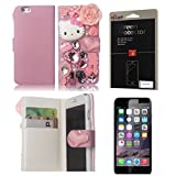 iPhone 6 Case, FiveLimit(TM) For Apple iPhone 6 4.7 3D Luxury Bling Crystal Pearl Love Pink Hello Kitty Fairy Tale Flower Flip PU Leather Wallet Case With Credit Card Holder (Package includes: 1 X Screen Protector) (Pink)