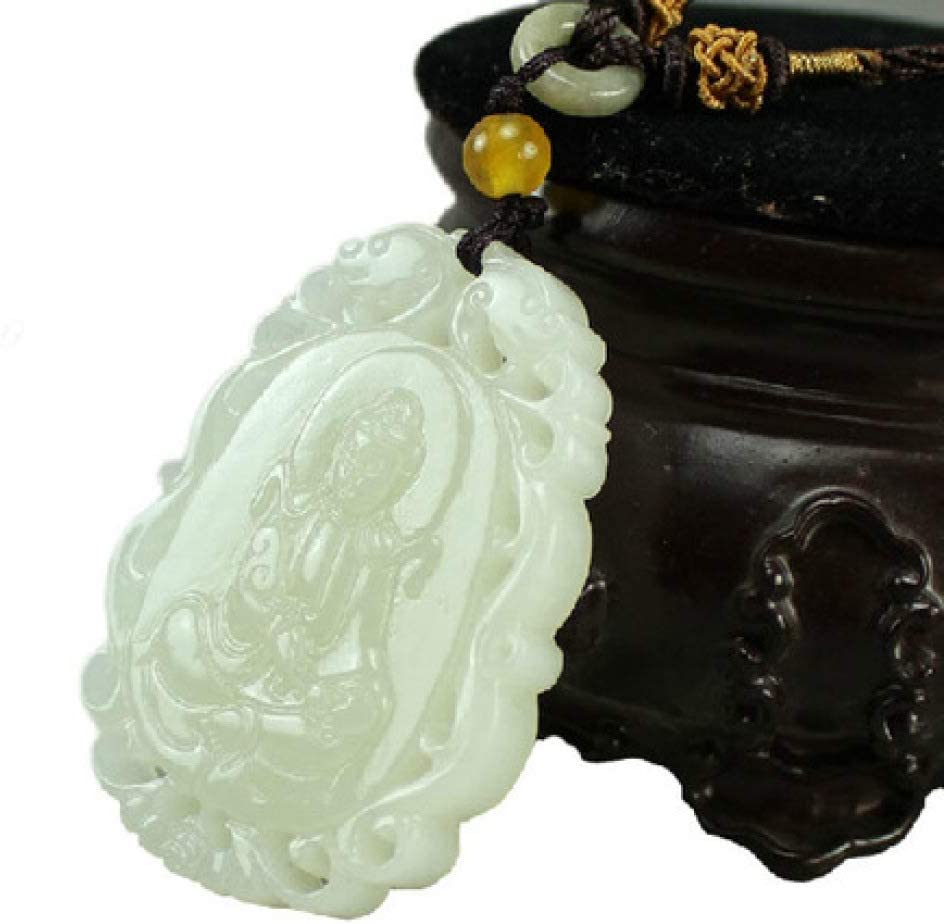 Wuligeya Hetian Yuguanyin Colgante Oveja Grasa Blanco Jade Hueco Jade Colgante