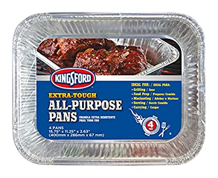 Kingsford BB0489 Extra Tough All-Purpose Aluminum Pans, 4 Pack   Disposable A, 4 Count, Silver