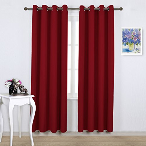 NICETOWN Burgundy Blackout Draperies Curtains - Pair of Grommet Top Thermal Insulated Blackout Decorative Curtains / Panels / Drapes (52 Inch Wide by 95 Inch Long, Burgundy Red)