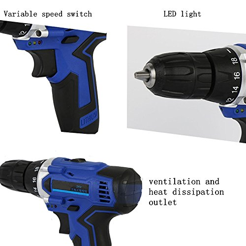 LUBAN 25V Electric Drill Rechargeable Lithium Battery Electric Drill Multi-function Electric Screwdriver Handheld Power Tools by LUBAN (Image #5)
