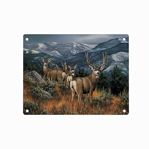 Country Deer Elk Wildlife Metal Tin Sign, Tin Poster, Wall Ornament Coffee Decor Art, Size 12