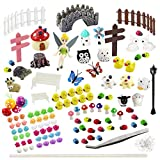 Whonline 150 Pcs Miniature Fairy Garden Decoration with 1pcs Tweezer Tool + 1 Bag of Pins + 1 Hot Glue Stick