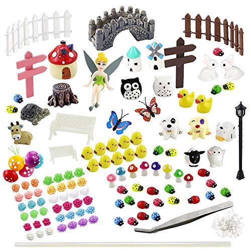 Whonline 150 Pcs Miniature Fairy Garden Decoration with 1pcs Tweezer Tool + 1 Bag of Pins + 1 Hot Glue Stick