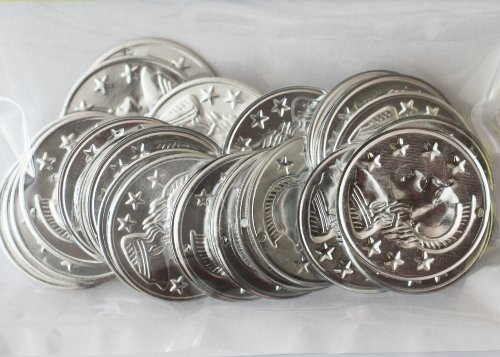 ~ Jingle Charm Coins ~ Lightweight aluminum ~ Silver Plated 28mm (1 1/4