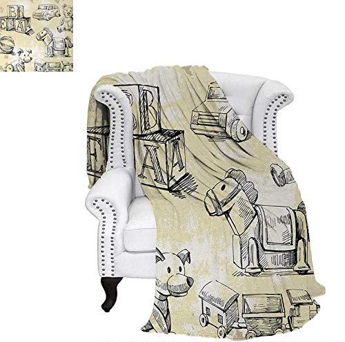Summer Quilt Comforter Illustration of Kids Old Toys on Grunge Setting Teddy Bear Train Ball Childhood Digital Printing Blanket 70