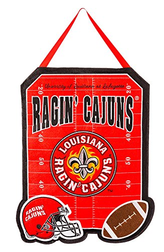 Team Sports America Louisiana Lafayette Ragin' Cajuns Outdoor Safe Felt Door Decor (Outdoor Lafayette Hanging)
