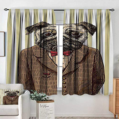 Mozenou Pug Blackout Window Curtain Hand Drawn Sketch of Smart Dressed Dog Jacket Shirt Bow Suit Striped Background Bedroom Blackout Curtains 63