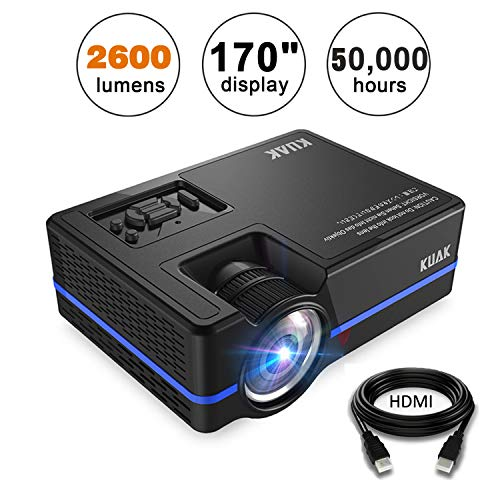 KUAK 2600 Lumens Portable Home Theater Mini Projector, Support 1080P Full HD LED Video Projector, 170