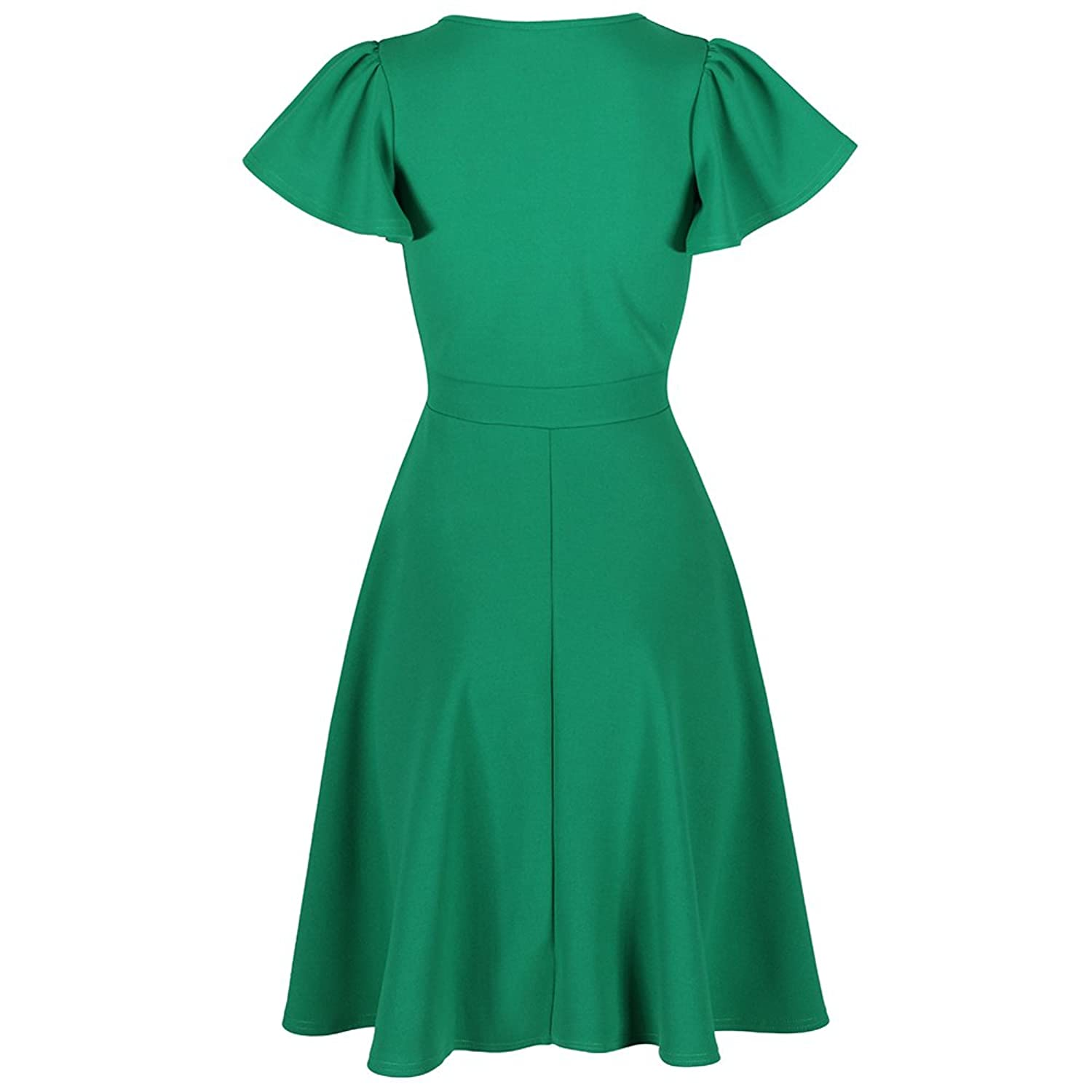 5c39e4542a49 Pretty Kitty Fashion Emerald Green Gathered Cap Sleeve Crossover Dress:  Amazon.co.uk: Clothing