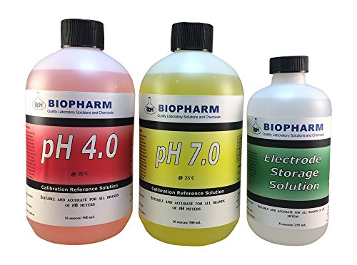 Biopharm Buffer Calibration Test Kit 3-Pack 500 mL pH 4.0 & pH 7.0 and 250 mL Electrode Storage-for Precise and Accurate Calibrations, Designed for Hydroponics and Aquaponics- Ideal for All pH Meters