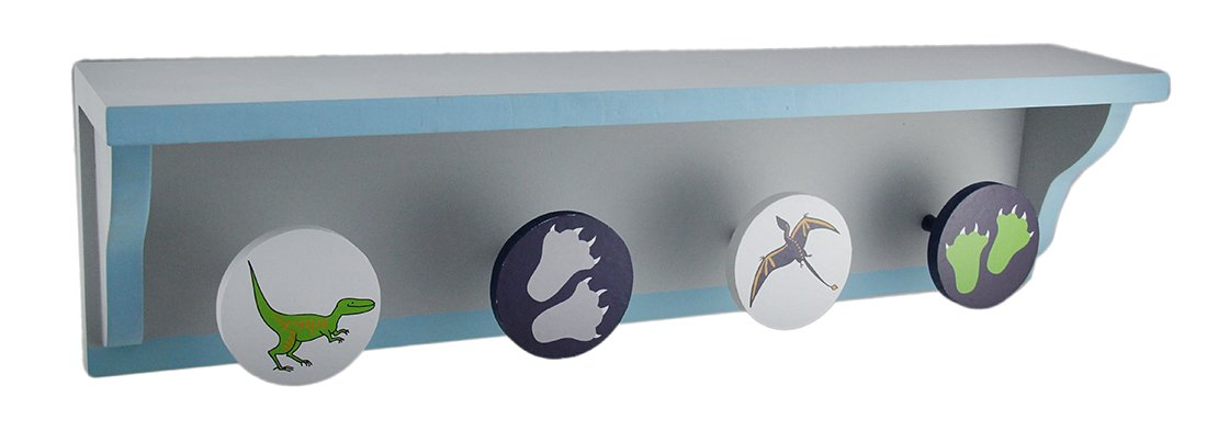 Zeckos Wood Hanging Shelves Jurassic Journey Blue & Grey Dinosaur Design Wood Wall Shelf W/Pegs 21.5 X 5.5 X 3.75 Inches Blue